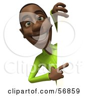 3d Casual Black Man Character Pointing And Looking Around A Blank Sign