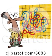 African American Man Looking At A Crazy Graph Chart Clipart Illustration