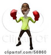 Royalty Free RF Clipart Illustration Of A 3d Casual Black Man Character Boxing Version 2