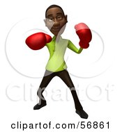 Royalty Free RF Clipart Illustration Of A 3d Casual Black Man Character Boxing Version 3