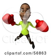 Royalty Free RF Clipart Illustration Of A 3d Casual Black Man Character Boxing Version 5