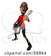 Royalty Free RF Clipart Illustration Of A 3d Casual Black Man Character Playing An Electric Guitar Version 2