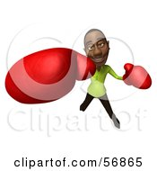 Royalty Free RF Clipart Illustration Of A 3d Casual Black Man Character Boxing Version 6