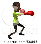Royalty Free RF Clipart Illustration Of A 3d Casual Black Man Character Boxing Version 1