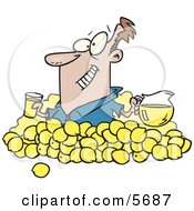 Man With Lemons Pitcher Of Lemonade And A Glass Of Juice Clipart Illustration