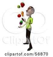 3d Casual Black Man Character Juggling Healthy Veggies Version 2 by Julos