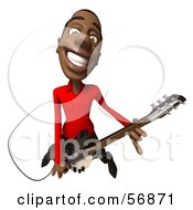 3d Casual Black Man Character Playing An Electric Guitar - Version 4
