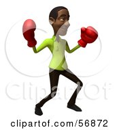 Royalty Free RF Clipart Illustration Of A 3d Casual Black Man Character Boxing Version 4