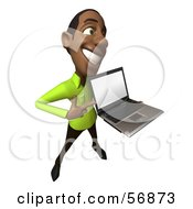 Royalty Free RF Clipart Illustration Of A 3d Casual Black Man Character Holding A Laptop Version 4 by Julos