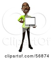 Royalty Free RF Clipart Illustration Of A 3d Casual Black Man Character Holding A Laptop Version 1
