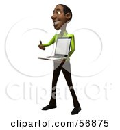 Royalty Free RF Clipart Illustration Of A 3d Casual Black Man Character Holding A Laptop Version 2
