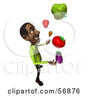 3d Casual Black Man Character Juggling Healthy Veggies Version 4 by Julos