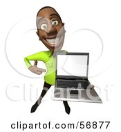 Royalty Free RF Clipart Illustration Of A 3d Casual Black Man Character Holding A Laptop Version 3 by Julos
