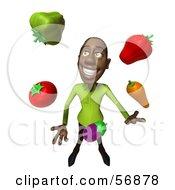 3d Casual Black Man Character Juggling Healthy Veggies - Version 3