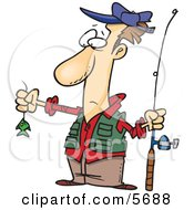Disappointed Fisherman With A Very Small Fish Clipart Illustration by Ron Leishman