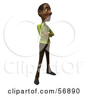 Royalty Free RF Clipart Illustration Of A 3d Casual Black Man Character Standing And Facing Right