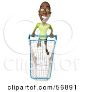 Royalty Free RF Clipart Illustration Of A 3d Casual Black Man Character Pushing A Shopping Cart Version 5