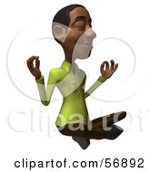 Royalty Free RF Clipart Illustration Of A 3d Casual Black Man Character Meditating Version 1