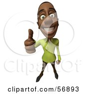 Royalty Free RF Clipart Illustration Of A 3d Casual Black Man Character Giving The Thumbs Up by Julos