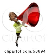 Royalty Free RF Clipart Illustration Of A 3d Casual Black Man Character Speaking Through A Megaphone Version 5 by Julos