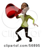 Royalty Free RF Clipart Illustration Of A 3d Casual Black Man Character Speaking Through A Megaphone Version 3
