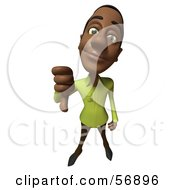 Royalty Free RF Clipart Illustration Of A 3d Casual Black Man Character Giving The Thumbs Down