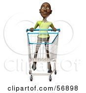 Royalty Free RF Clipart Illustration Of A 3d Casual Black Man Character Pushing A Shopping Cart Version 4