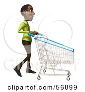 Royalty Free RF Clipart Illustration Of A 3d Casual Black Man Character Pushing A Shopping Cart Version 2