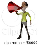 Royalty Free RF Clipart Illustration Of A 3d Casual Black Man Character Speaking Through A Megaphone Version 1