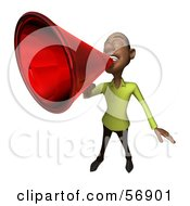 Royalty Free RF Clipart Illustration Of A 3d Casual Black Man Character Speaking Through A Megaphone Version 4