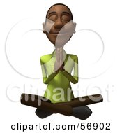 Royalty Free RF Clipart Illustration Of A 3d Casual Black Man Character Meditating Version 3 by Julos
