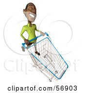 Royalty Free RF Clipart Illustration Of A 3d Casual Black Man Character Pushing A Shopping Cart Version 6 by Julos