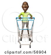 Royalty Free RF Clipart Illustration Of A 3d Casual Black Man Character Pushing A Shopping Cart Version 1 by Julos