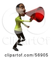 Royalty Free RF Clipart Illustration Of A 3d Casual Black Man Character Speaking Through A Megaphone Version 2 by Julos