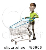 Royalty Free RF Clipart Illustration Of A 3d Casual Black Man Character Pushing A Shopping Cart Version 3 by Julos