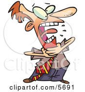 Red Faced Business Man Grabbing His Neck While Choking Clipart Illustration