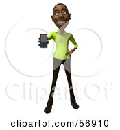 Royalty Free RF Clipart Illustration Of A 3d Casual Black Man Character Holding A Cell Phone Version 1 by Julos