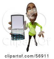 Royalty Free RF Clipart Illustration Of A 3d Casual Black Man Character Holding A Cell Phone Version 4