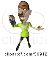 Royalty Free RF Clipart Illustration Of A 3d Casual Black Man Character Holding A Cell Phone Version 3 by Julos