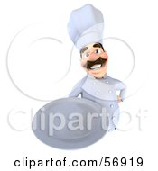 Royalty Free RF Clipart Illustration Of A 3d Chef George Character Holding A Plate Version 3 by Julos