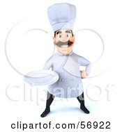 Royalty Free RF Clipart Illustration Of A 3d Chef George Character Holding A Plate Version 1 by Julos