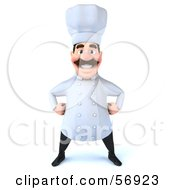 Royalty Free RF Clipart Illustration Of A 3d Chef George Character Standing And Facing Front by Julos