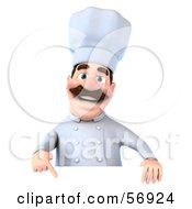 Royalty Free RF Clipart Illustration Of A 3d Chef George Character Pointing Down And Standing Behind A Blank Sign by Julos