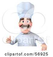 Royalty Free RF Clipart Illustration Of A 3d Chef George Character Giving The Thumbs Up And Standing Behind A Blank Sign by Julos