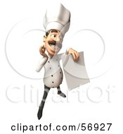 Royalty Free RF Clipart Illustration Of A 3d Chef Henry Character Holding A Blank Contract Version 5