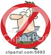 No Smoking Symbol Over A Man Smoking A Cigarette Clipart Illustration