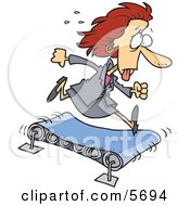 Sweaty Business Woman Running On A Treadmill Clipart Illustration
