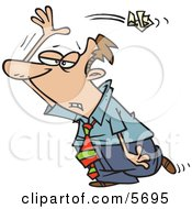 Royalty Free Clipart Illustration Of An Upset Employee Tossing Crumpled Paper Over His Shoulder by toonaday