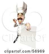 Royalty Free RF Clipart Illustration Of A 3d Chef Henry Character Holding A Blank Contract Version 4