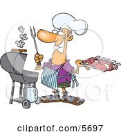 Man Preparing To Barbeque Ribs On A Gas Grill Clipart Illustration by Ron Leishman